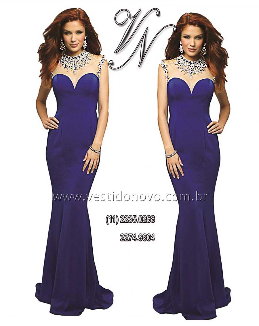 77e0bf56d vestido azul royal brilho e pedraria CASA DO VESTIDO NOVO (11) 2274-9604