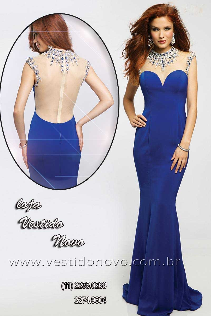 9fa2be2b9 vestido azul royal brilho e pedraria CASA DO VESTIDO NOVO (11) 2274-9604