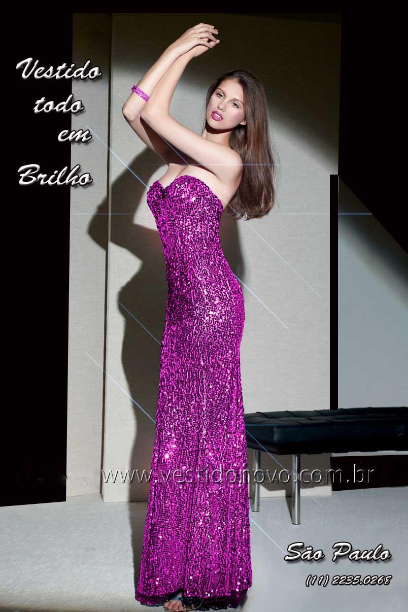 595e1e2e0 vestido de festa longo todo em pedraria e brilho na cor fuchsia loja em São  Paulo