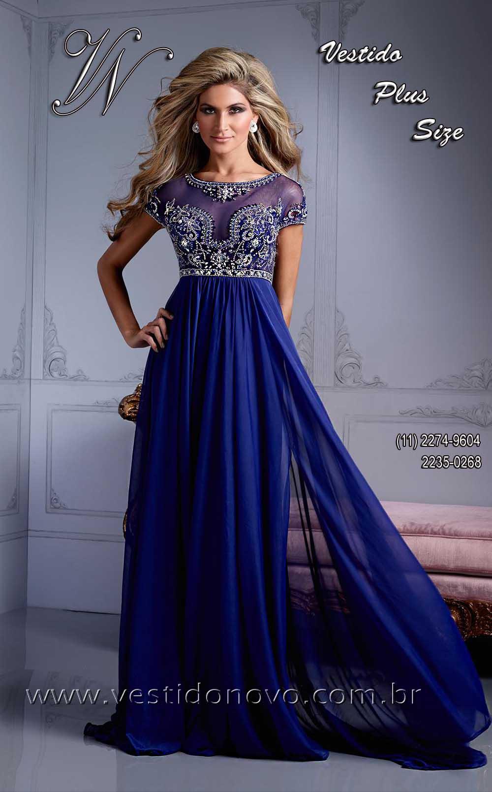 Vestido longo azul marinho com brilho