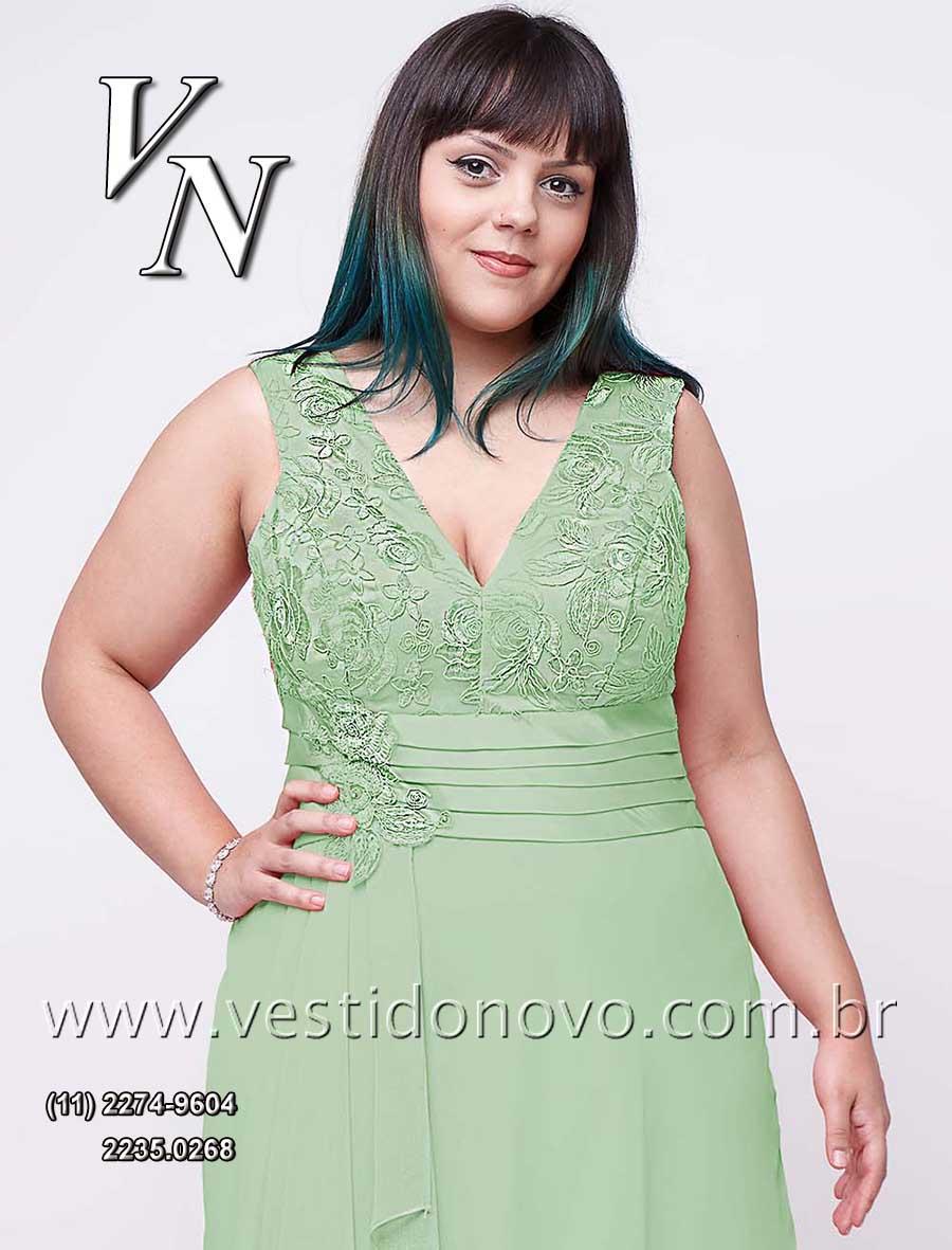 7f320e477 Vestido verde claro, cor pastel, Plus size tamanho grande, mãe do noivo,