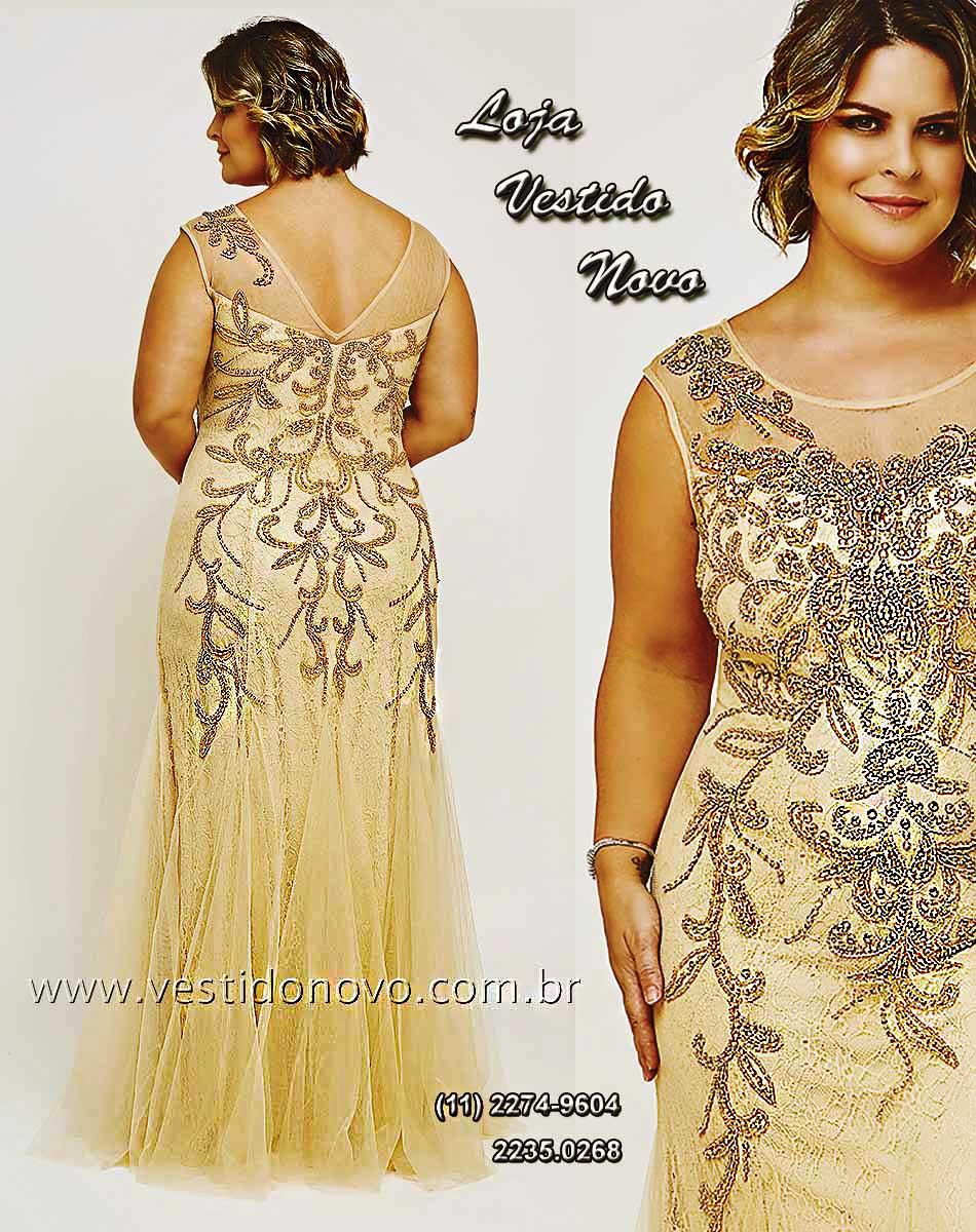 c65c21e649 Vestido Plus size mãe do noivo nude com dourado